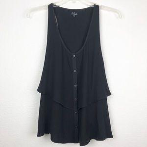 Aritzia Talula Button Up Black Tank Top Size L